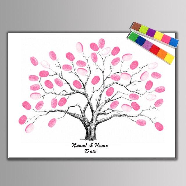 Leinwand Malerei Customiz Fingerabdruck Diy Unterschrift Baum