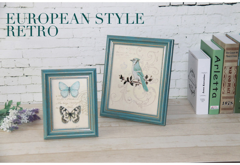 4 unids/set Marco de estilo europeo en la mesa de decodificación del hogar marcos de fotos azul