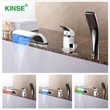 KINSE Messing Material Chrom-finish LED Badewanne Wasserhahn Drei Stücke Wasserfall Wasserhahn Mischer mit Handbrause