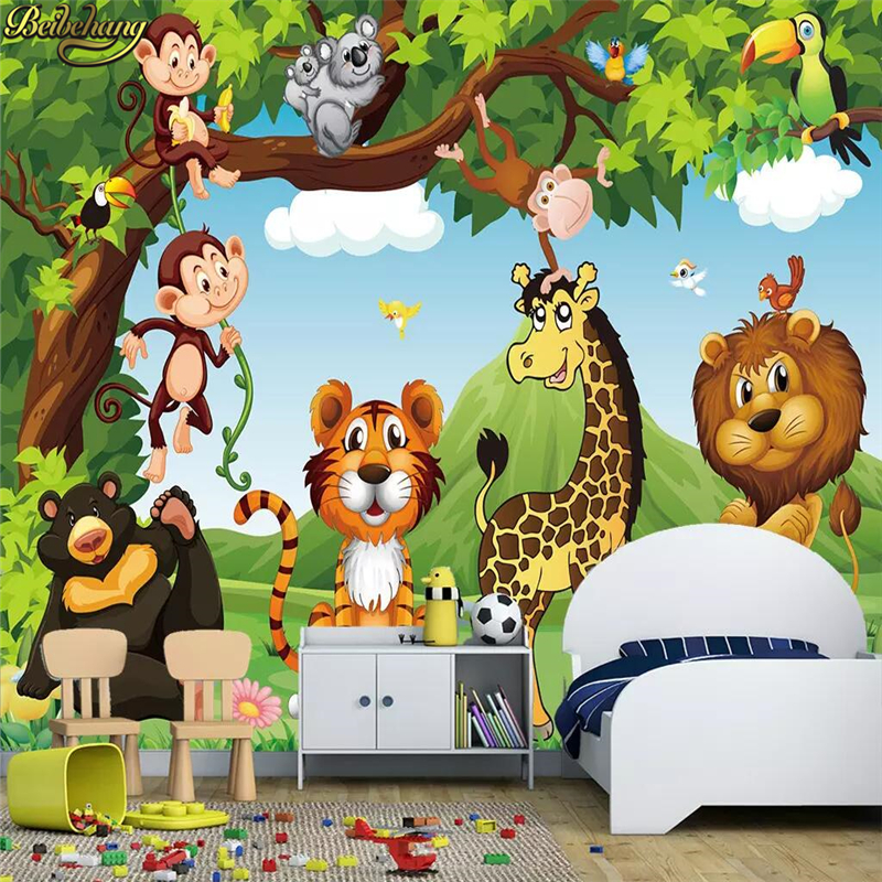 Beibehang Custom Photo Wallpaper Mural 3D Cartoon Animal World Children's Room Mural Wall Papers Home Decor Papel De Parede