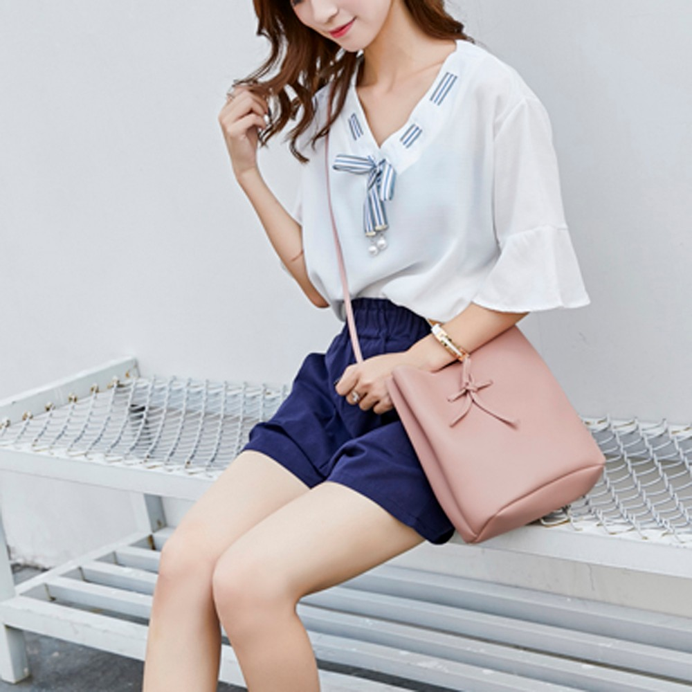 Fashion Women's Mobile Phone Bag girls travel Shoulder Bow Bucket Bag leisure Coin Purse