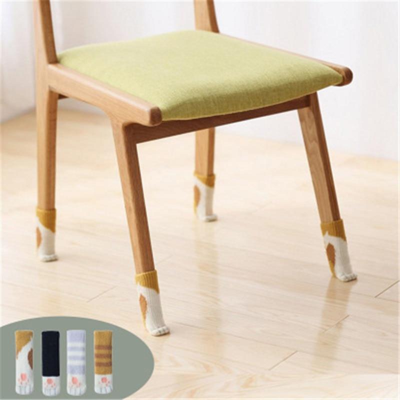 4pcs Anti Slip Mat Bumper Damper Cute Furniture Leg Feet Rug Caps Felt Pads Cat Claw Chair Leg Socks Table Protector