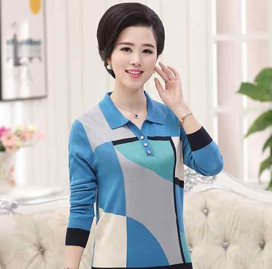 Retro 2019 outono inverno feminino manga longa soltas mulheres de jumper de lã knitting sweater moda mãe plus size top pullover S761