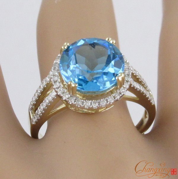 4.85ct!! 14ct Yellow Gold Blue Topaz & Diamond Ring Settings, 14K Ring, Free Shipping