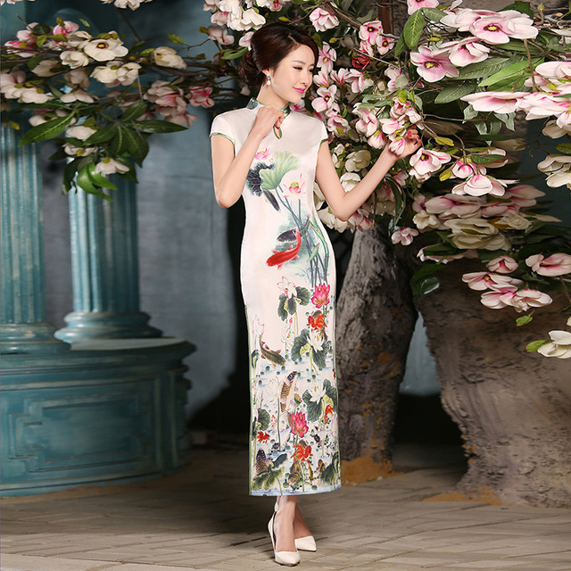 Long Cheongsam Tang suit Qipao Chinese Oriental Dresses Traditional Dress For Women S M L XL XXL Size In Stock Vestidos Festa