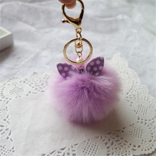 jinggton oval Fashion Faux Rabbit Fur Ball Keychain Bag Plush Car Key Ring Car Key Pendantfasiona