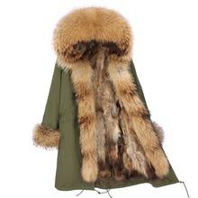 Зимняя женская куртка, пальто X-long, парка с натуральным мехом енота, капюшон, подкладка из лисьего меха, парка, Толстая теплая верхняя одежда на каждый день