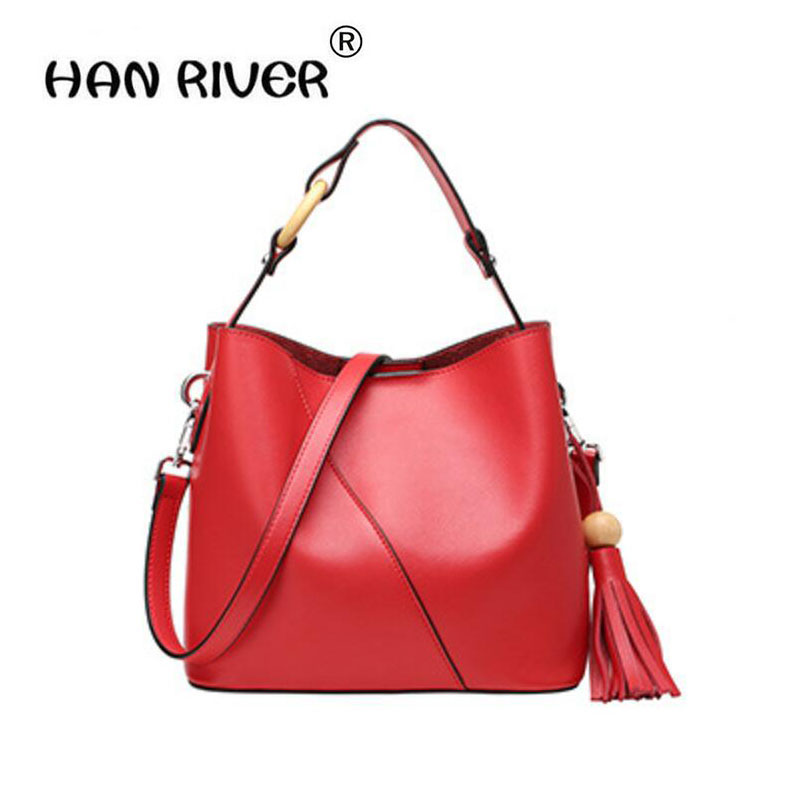HANRIVER 2018 spring and summer new real leather bucket bag pack a European and American style with a simple style tassel jeans woman new real 2017 spring and summer european american style fashion lace pants denim trousers pencil feet free shipping