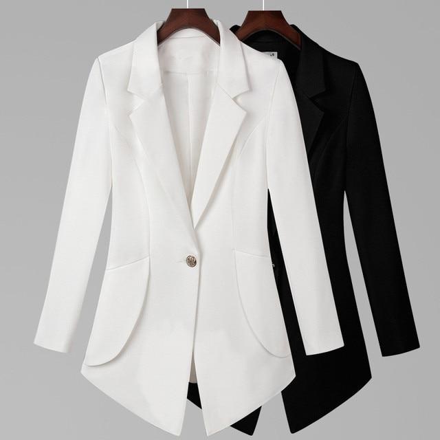 New 2018 Autumn Plus Size 7XL Women Blazers Long Sleeve Solid Blazer Fashion Asymmetrical Split Slim Outerwear 1