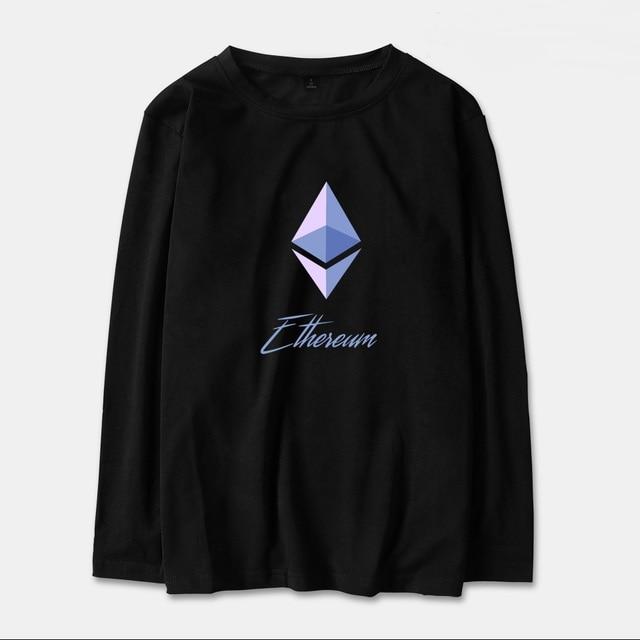 c40c0e16c96 Blockchain Ethereum Long Sleeve T Shirt Men Women Cotton Ethereum Bitcoin  Print Streetwear ETH Logo T-shirt Tops Tees Plus Size