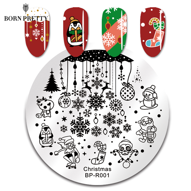 Image 2 - BORN PRETTY Christmas Snow Nail Stamping Plate  Balls Deer Round Template Nail Art Stamp Plate-in Nail Art Templates from Beauty & Health