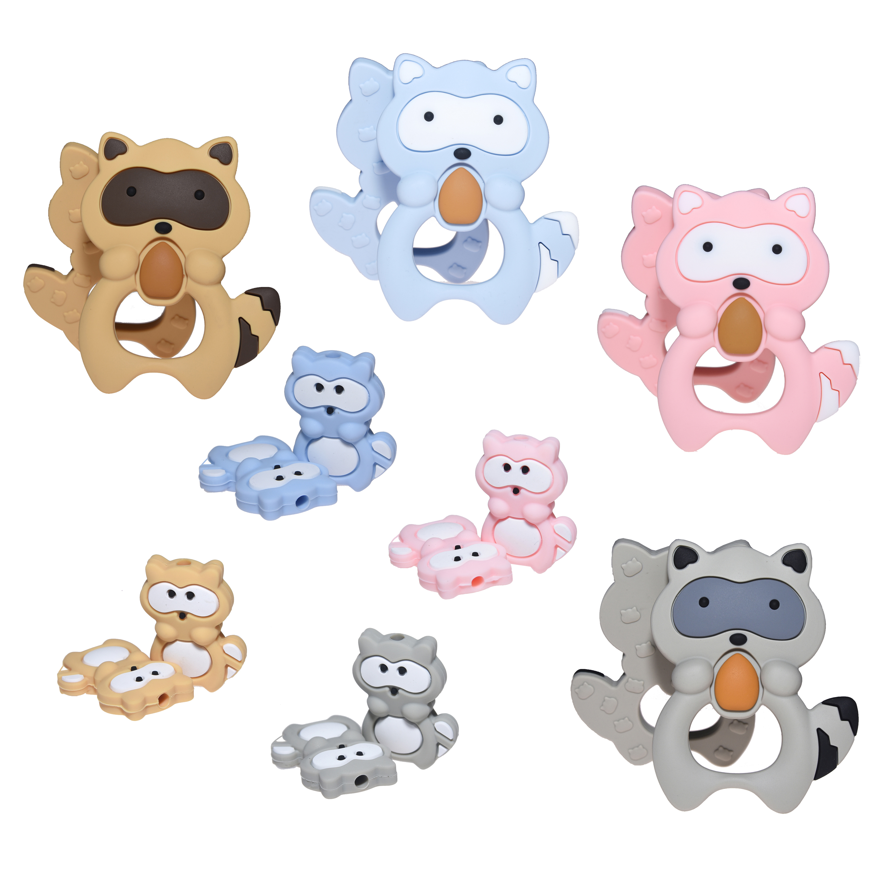 Happyfriends Cute Silicone Raccoon Beads Teether Set Baby Teething Chew Pacifier Clip Chain Toy Accessories Baby Teethers