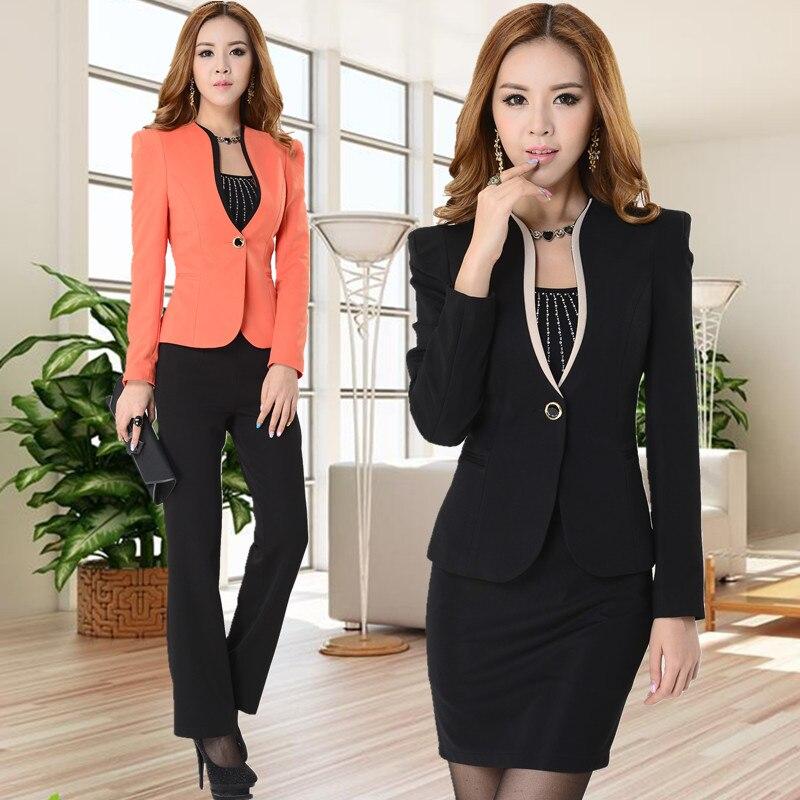 bcca85659 New 2015 Autumn and Winter Female Blazer Women Skirt Suits Elegant  Long-sleeve Ladies Work Wear Sets Beauty Salon Uniform
