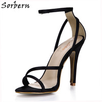 Sorbern Ivory Silk Womens Shoes 2018 Runway Shoes Bridal Shoes Custom Colors Stiletto Sandals Designer Shoes