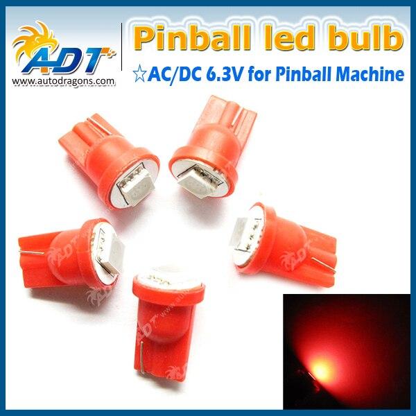 Super Brightness 100Pcs T10 194 W5W 555 LED 6.3V Pinball Lights Anti flickering For Stern Pinball Game Machine