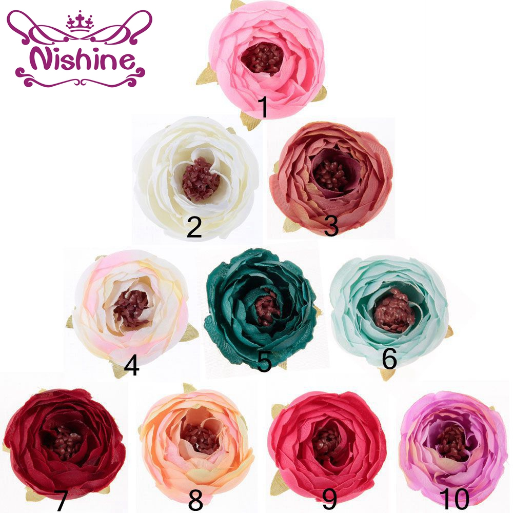 Nishine 30pcs/lot Artificial Flowers With Stamens Fake Flowers DIY Cloth Hair Accessories Decorative Wedding Flowers