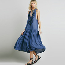 a73a04f64b94 BOHO PEOPLE 2017 Summer Beach Holiday Sleeveless Maxi Dresses V Neck Back  Hollow Out Flowing Beading