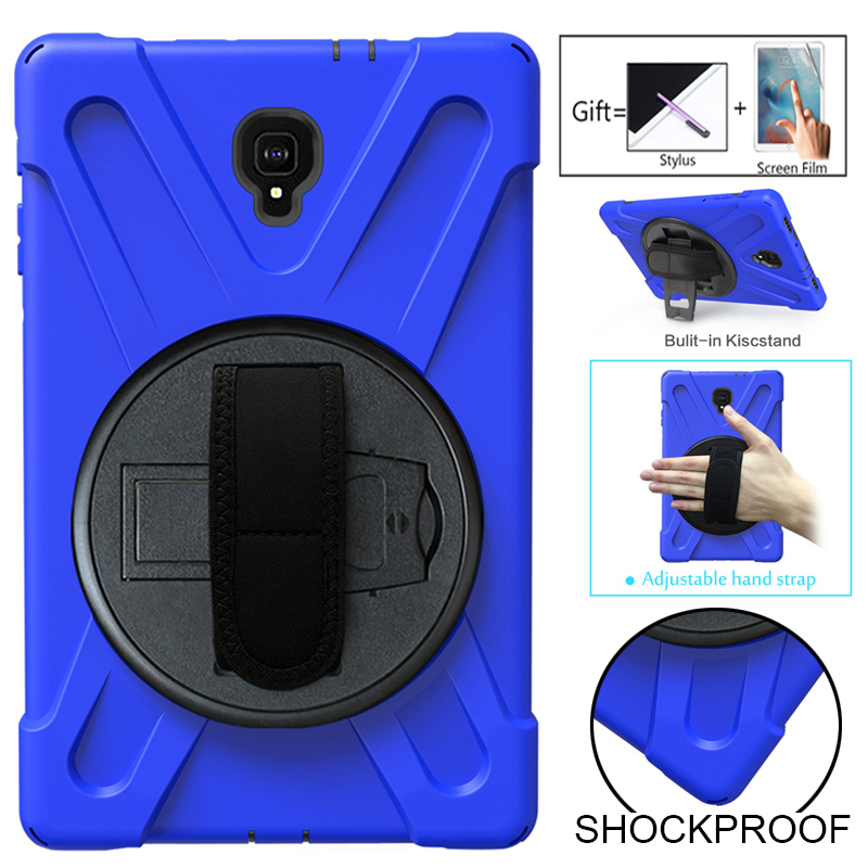 Shockproof Kids Case For Samsung Galaxy Tab A 2018 10.5 SM-T595 T590 T597 Cover Kickstand Silicone Rubber Armor Case+Hand Strap