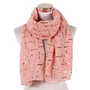 Image 4 - FOXMOTHER Nieuwe Mode Marine Wit Roze Folie Goud Plaid Cross Moslim hijab Sjaals Sjaal Wrap Sjaals Voor Dames Bufanda Echarpe