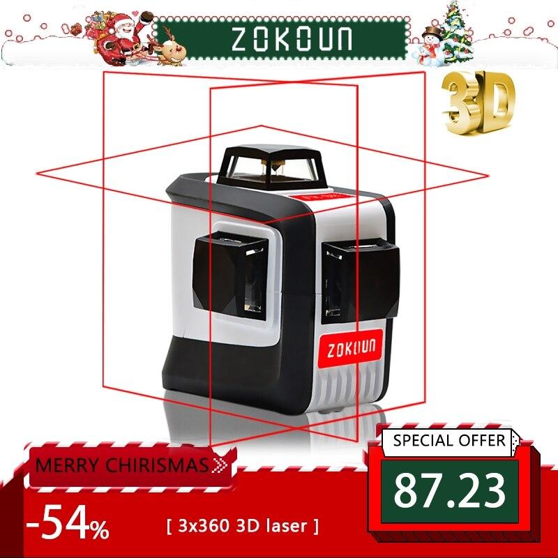 ZOKOUn 12 линий 3D 94 T самонивелирующийся 360 горизонтальный и вертикальный крест супер мощный красный лазерный луч линия лазерный уровень