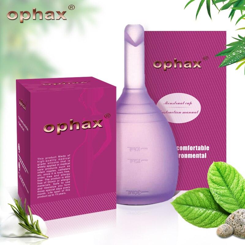 OPHAX señora grado médico silicona Menstrual copa para las mujeres higiene femenina producto alta calidad Anner Copa Vagina cuidado de la salud