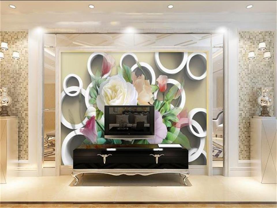 Custom size wallpaper 3d photo wallpaper living room mural 3d circle big roses flowers painting sofa TV background wall sticker new arrival indoor outdoor large children s house game room children s toys 3 in 1 square crawl tunnel folding kid play tent