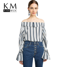 Kissmilk Plus Size 2018 Women Blue Striped Slash neck Shirt Large Size Butterfly Sleeve Casual Shirt Over Size Cold Shoulder Top все цены