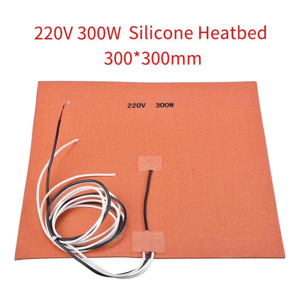 300W 220V Silicone Heater 300*300MM Silicone Heatbed Flexible NTC 100K Thermistor With Sticker For 3D Printer Heated Bed 150 x 150mm 110w 220v k type thermistor silicone rubber heater with heating element 3d printer heating bed flexible heated