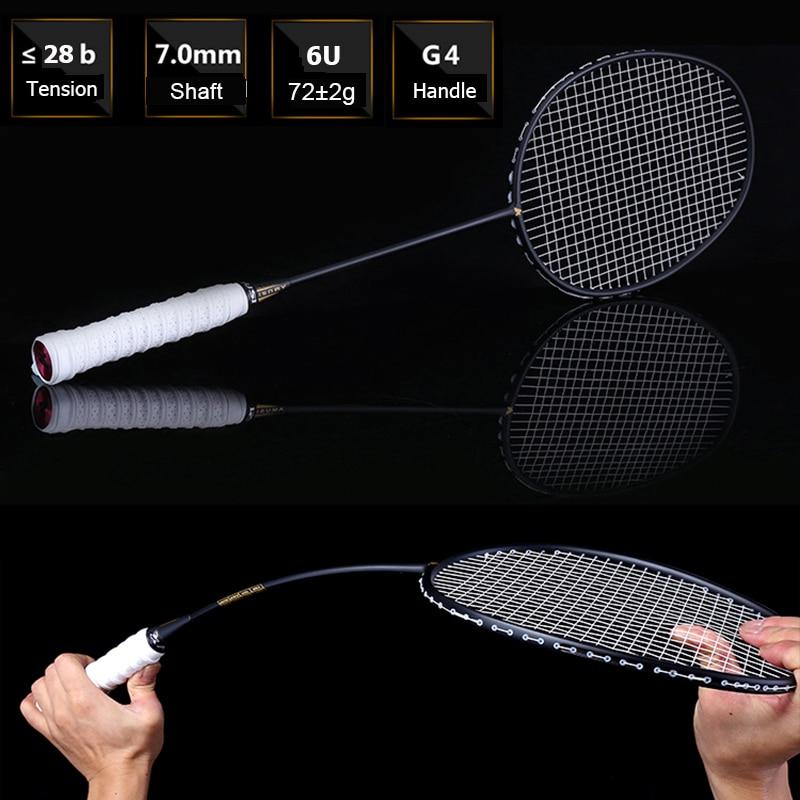 LOKI Ultralight 6U 72g Strung Badminton Racket Professional Carbon Badminton Racquet 22-28 LBS free Grips and Wristband new arrival arc10 5u 77g super light badminton racket 100% carbon black white badminton racquet traning racket