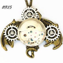 steampunk gothic mechanical watch parts movements gear bat wing hanging halloween pendant necklace men women vintage jewelry diy