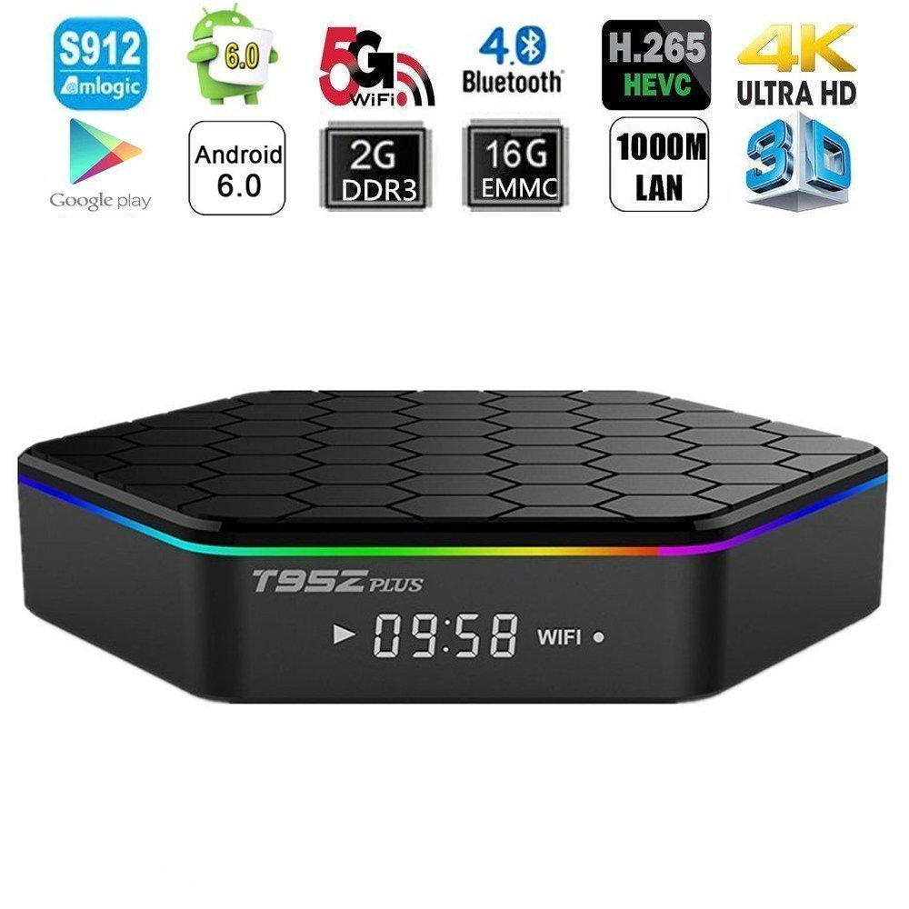 T95Z PLUS Android TV BOX Android 6.0 TV Box avec Amlogic S912 Octa core 2 GB DDR3 16 GB EMMC Support TF carte jusqu'à 64 GB Media TV