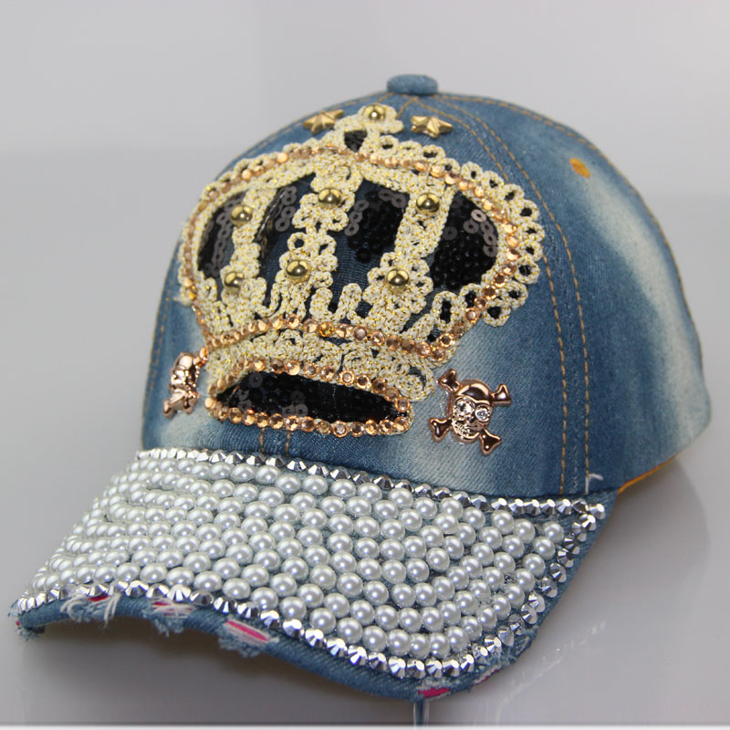 a6b1bbf60a8 Free shipping high crown cowboy quality diamond beads skull men s women s  hot adjustable hat casual adult baseball cap snapback-in Baseball Caps from  ...