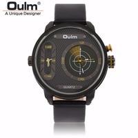 OULM Watct Mens Clock Waterproof 2 Time Zone Leather Strap LED Diaplay Quartz Brand Unique Designer