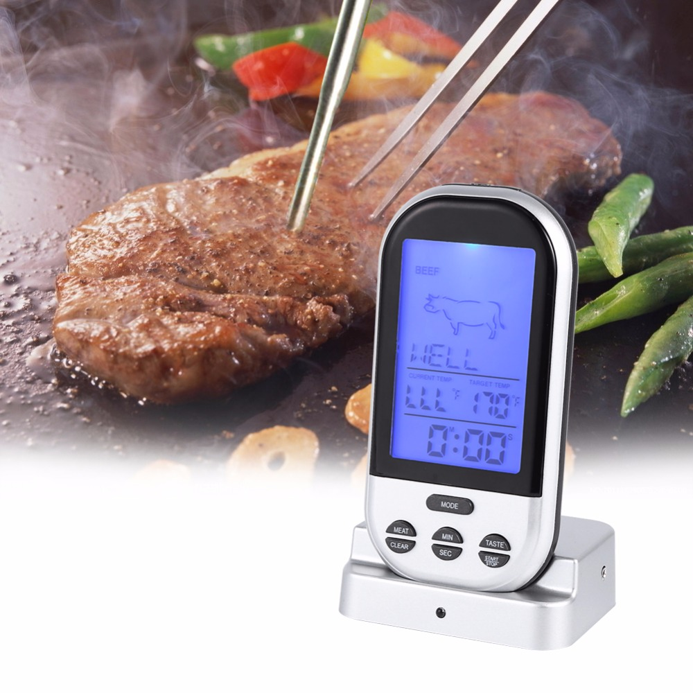 New Wireless LCD Remote Thermometer For BBQ Grill Meat Kitchen Oven Food Coo //ND