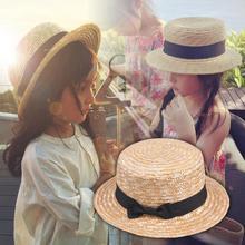 Милые дети девочки соломенная шляпа бант Детские шляпы от солнца с большими полями Пляж Лето канотье пляж лента круглый плоский верх шляпа Федора 54 см