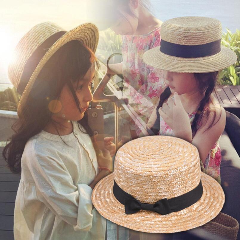 Cute Child Girls Straw Hat Bowknot Sun Hat Kids Large Brim Beach Summer Boater Beach Ribbon Round Flat Top Fedora Hat 54CM