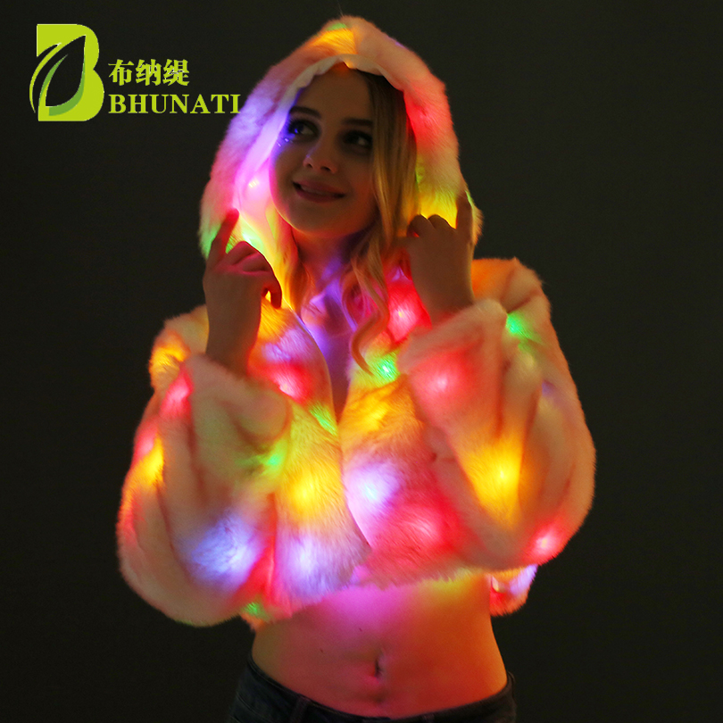 New 2018 Christmas Multicolor Clothes Hooded Women LED Luminous Faux Fur Coat Lady Bar dance show nightclub Clothes