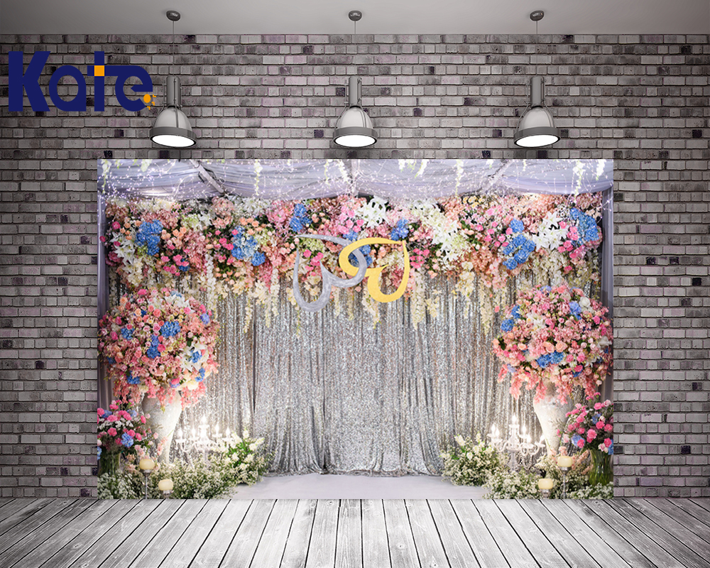 KATE 5x7ft Photo Background Flower Photocall Wedding Flowers Backdrop Silver Curtains and Light Backdrops for Wedding Decoration Сумка