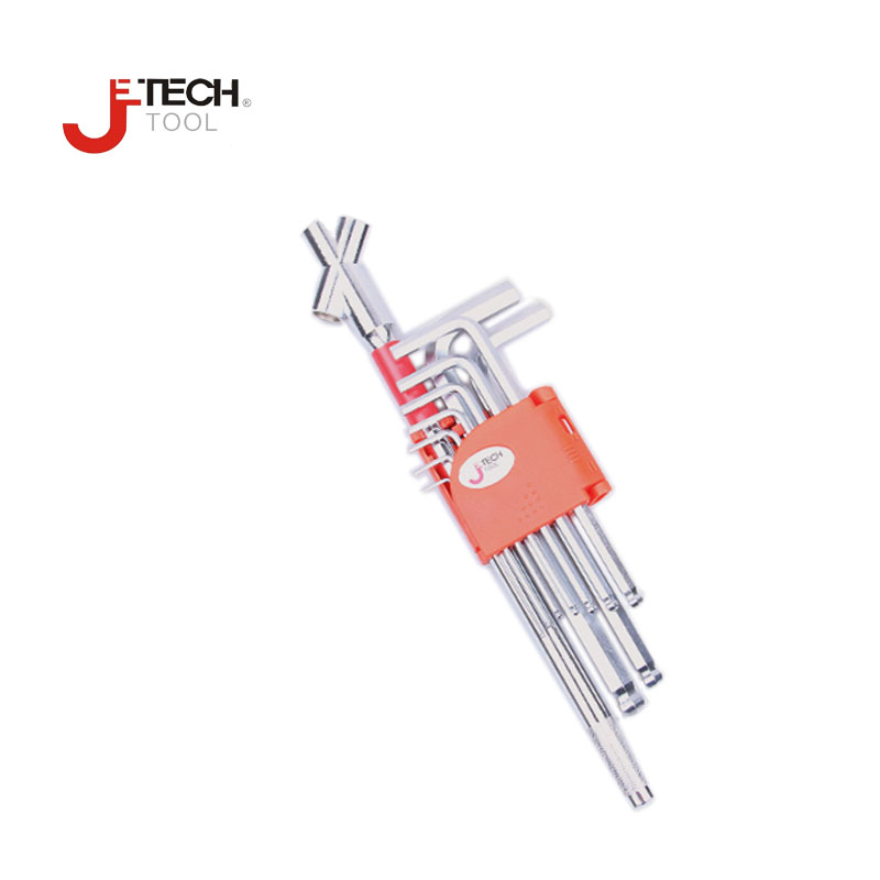 Jetech 9pcs+1pc/set ball end hex keys set with extension bar ball point allen key wrench kit L-key tool set alloy steel inner hexagon key wrench set professional tools set l wrench set 9 pcs