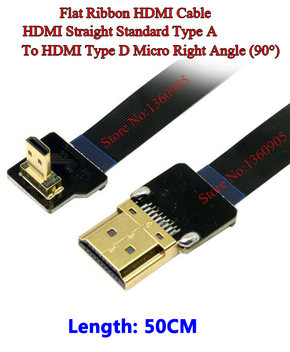 50CM 19.6'' Ultra Thin HDMI Cable HDMI Type A straight to HDMI Micro right angle 90 degree flat ribbon cable CCTV Airplanes ultra thin micro hdmi straight male to micro type d right angle male flat ribbon fpv cable 40cm 50cm 60cm 80cm 100cm optional