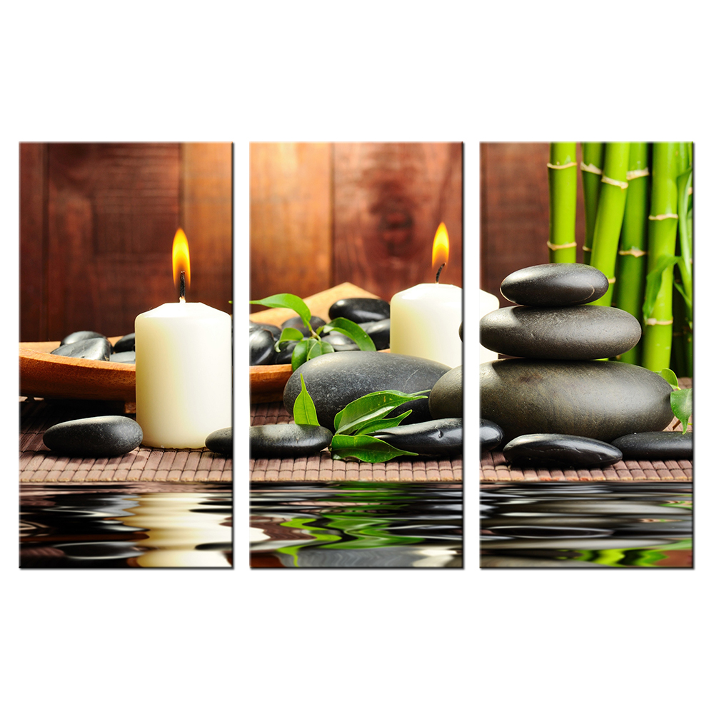 Triptych painting white candles zen art with green bamboo for Home decor zen