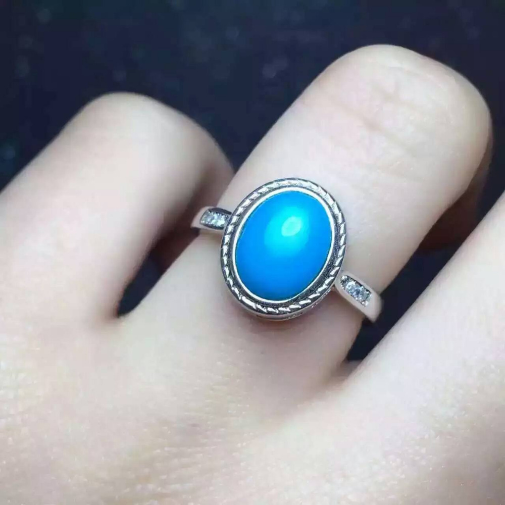 Natural green turquoise stone Ring Natural gemstone Ring S925 sterling silver trendy elegant round women's party Jewelry trendy fuax turquoise carved rounded rechtangle ring