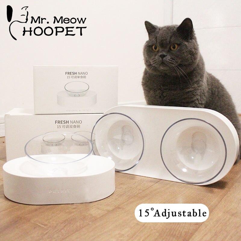 Hoopet Cat Bowl One Dual Port Dog Water Dispenser Feeder Utensils Bowl Cat Kitten Drinking Fountain Food Dish Pet Bowl Goods
