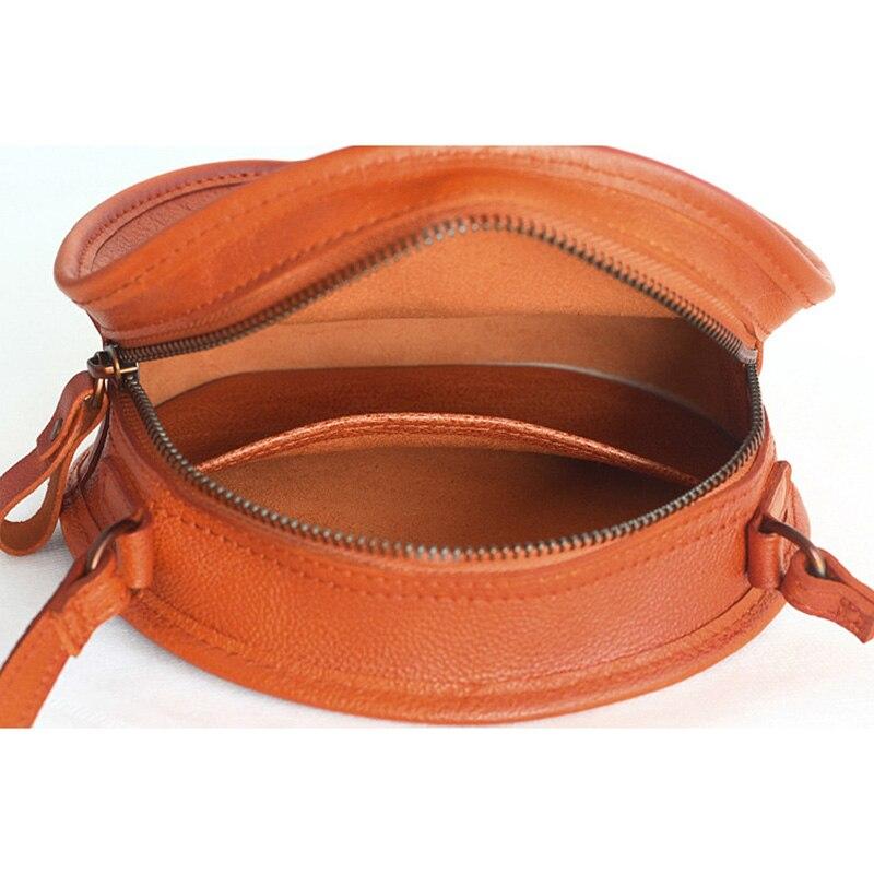 Yeesupsei moda feminina mini saco redondo couro genuíno circular crossbody ombro saco do mensageiro senhora casual cor sólida bolsa - 6