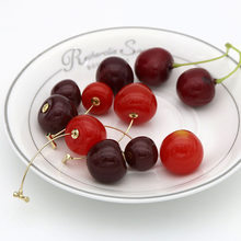 Cherry Earrings Korean Fashion Earrings Japanese Summe Chiron Plant Metal Cute Dangle Drop Red Round Jewelry for Women Ladies(China)