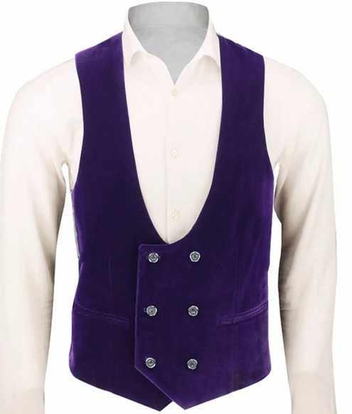 カスタムダブルブレスト紫色のベルベットのベストスーツ男性のスリムフィットタキシード新郎 1 枚のベストダンスの結婚式