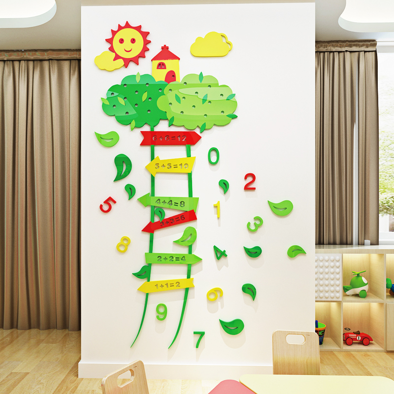 2018 New Cartoon Trees And Vines Digital 3d Wall Posters Wall Decoration Classroom Layout Early Morning Teaching Background Wall Stickers Aliexpress
