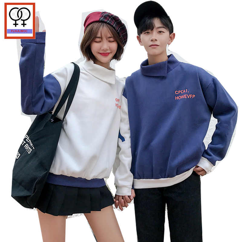 a58941333b Couple Clothes For Lovers Winter Holiday Wear Honeymoon Turtleneck Tops  Cotton Cute Korean Matching Couple Hoodies