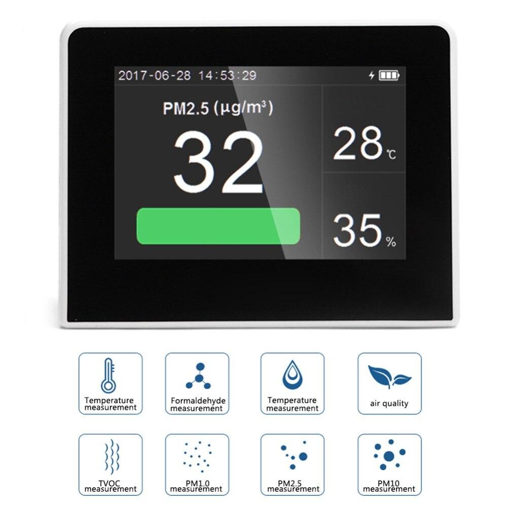 Analyseur de gaz multifonctionnel détecteur de qualité de l'air CO2 mètre CO2 moniteur intérieur extérieur numérique HCHO & tcov testeur