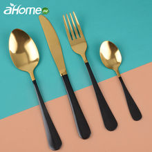Western Solid Dinnerware set Frost Metal Cutlery Spoon Fork Knife High quality Tableware for Wedding Party Hotel Cafe
